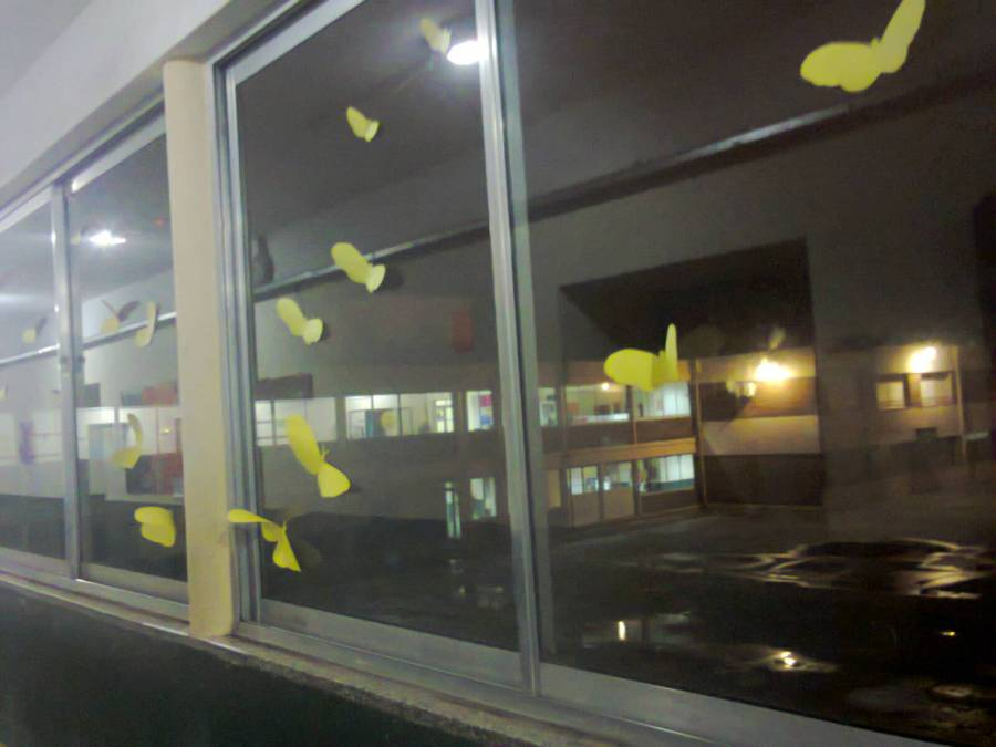 Mariposas amarillas en homenaje a Gabo en una lluviosa noche en la escuela